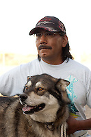 "MCDERMITT, NV - AUG 17  ""Denala""  is held by his owner Vincent Dave during a clinic sponsored by the Humane Society of the United States August 17, 2009 in McDermitt Nevada.  (Photograph by David Paul Morris)"