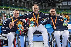 Podium, TOKATLIAN Damien, VALET Maxime, LEMOINE Ludovic, Equipe De France, Fencing, Escrime Foil, Medaille Bronze à Rio 2016 Paralympic Games, Brazil