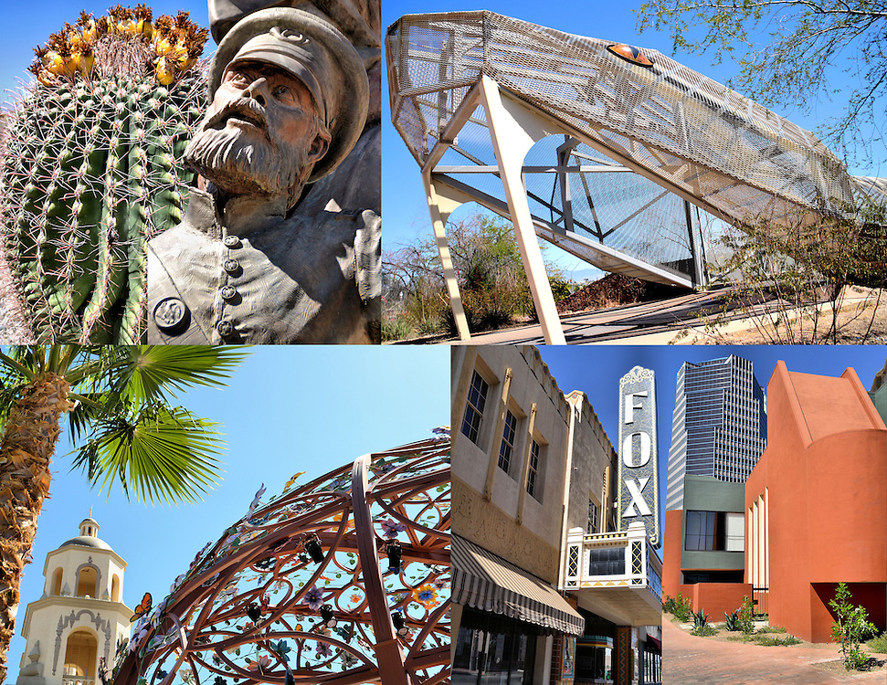 Tucson, Arizona Composite of Six Photos<br /> Six photos of Tucson, Arizona are A blooming Arizona Barrel Cactus, Close-up of Captain Jefferson Hunt as bronze statue called &ldquo;Exchange of the Presidio&rdquo; at Mormon Battalion Monument in El Presidio Park, The fangs of the diamondback rattlesnake pedestrian bridge, Lattice artwork sphere next to the Cathedral of Saint Augustine built in 1897, The Fox Theatre which was built in 1929, closed in 1974 and reopened in 2005, and the One South Church which is the tallest building in Tucson.