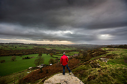 © Licensed to London News Pictures. 29/10/2017. Baildon UK. Dark clouds seen from the top of Baildon moor roll over Shipley towards Bradford at first light this morning in Yorkshire. Photo credit: Andrew McCaren/LNP