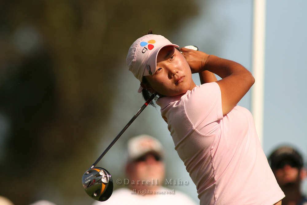Apr. 1, 2006; Rancho Mirage, CA, USA; Seon Hwa Lee tees off on the 16th hole at the Kraft Nabisco Championships at Mission Hills Country Club. ..Mandatory Photo Credit: Darrell Miho.Copyright © 2006 Darrell Miho .