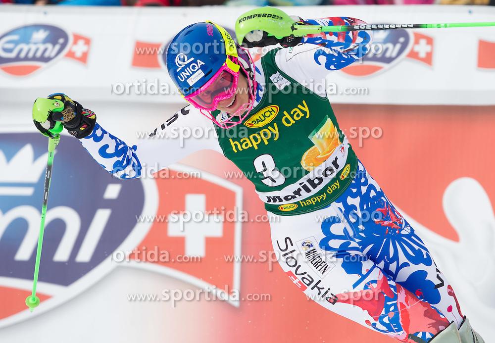 """VELEZ ZUZULOVA Veronika (SVK) celebrates after the 2nd Run of FIS Alpine Ski World Cup 7th Ladies' Slalom race named """"49th Golden Fox 2013"""", on January 27, 2013 in Mariborsko Pohorje, Maribor, Slovenia. (Photo By Vid Ponikvar / Sportida.com)"""