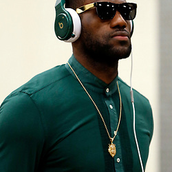 Jun 16, 2013; San Antonio, TX, USA; Miami Heat small forward LeBron James arrives for game five in the 2013 NBA Finals against the San Antonio Spurs at the AT&T Center. Mandatory Credit: Derick E. Hingle-USA TODAY Sports