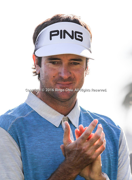 Bubba Watson celebrates his winning on the final round of the PGA Tour Northern Trust Open golf tournament at Riviera Country Club on February 21, 2016, in Los Angeles. Bubba Watson won the Northern Trust Open.(Photo by Ringo Chiu/PHOTOFORMULA.com)<br /> <br /> Usage Notes: This content is intended for editorial use only. For other uses, additional clearances may be required.