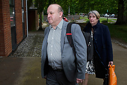 © Licensed to London News Pictures. 31/05/2016. Ampthill, UK. ALISON and RAY JOHNSON arrive for an inquest into the death of their son Conservative party activist Elliott Johnson, in Ampthill, Bedfordshire. Mr Johnson was found dead on a railway line in Bedfordshire a few weeks after he raised concerns about the way he had been treated in the Conservative youth wing. Photo credit: Ben Cawthra/LNP