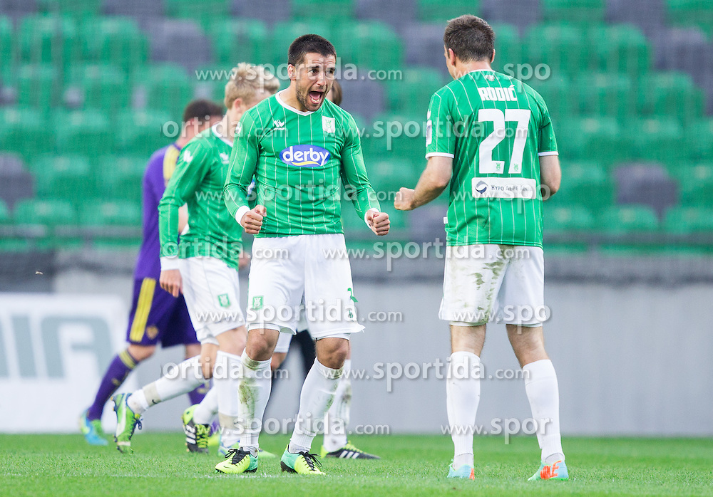 Miroljub Kostic #2 of Olimpija and Aleksandar Rodic of Olimpija celebrate during football game between NK Olimpija Ljubljana and NK Maribor in 2nd Leg of Semifinal of Slovenian Cup 2013/14, on April 2, 2014 in SRC Stozice, Ljubljana, Slovenia. Photo by Vid Ponikvar / Sportida