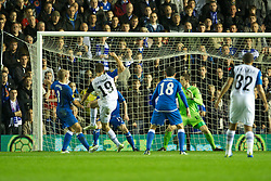 BIRMINGHAM, ENGLAND - Thursday, November 3, 2011: Club Brugge's Thomas Meunier scores the first goal against Birmingham City during the UEFA Europa League Group H match at St. Andrews. (Pic by David Rawcliffe/Propaganda)