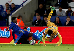 Daniel Amartey of Leicester City tackles Dele Alli of Tottenham Hotspur - Mandatory by-line: Robbie Stephenson/JMP - 18/05/2017 - FOOTBALL - King Power Stadium - Leicester, England - Leicester City v Tottenham Hotspur - Premier League