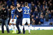Everton Manager Marco Silva and Everton defender Seamus Coleman (23) during the Premier League match between Everton and Chelsea at Goodison Park, Liverpool, England on 17 March 2019.