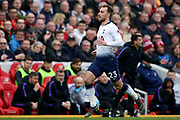 Tottenham Hotspur midfielder Christian Eriksen (23) during the Premier League match between Liverpool and Tottenham Hotspur at Anfield, Liverpool, England on 31 March 2019.