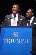 October 16, 2012-New York, NY : (L-R) TV personality Judge Greg Mathis and Rev. Dr. Frankyln Richardson, Chairman of the Board, National Action Network at the 3rd Annual National Action Network Triumph Awards held at Jazz at Lincoln Center on October 16, 2012 in New York City. The Triumph Awards were established by the National Action Network to recognize the contributions of humanitarians from all walks of life and to encourage future generations to drum majors for justice. (Terrence Jennings)