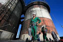 ITALY BRINDISI 8-10JUL09 - Greenpeace activists occupy the smoke stack of the Enel-owned power plant at Brindisi Cerano, Puglia, Italy......jre/Photo by Jiri Rezac / GREENPEACE......© Jiri Rezac 2009