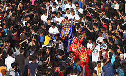 September 15, 2016 - Kathmandu, Nepal - Maksed dancer named Sawabhaku perform dance during the Indrajatra festival at Hanumandhoka Durbar Square in Kathmandu, Nepal. Indra Jatra is an eight day festival with a chariot procession dedicated to Goddess Kumari, Lord Ganesh and Bhairav, as well as worshiping Indra, the king of gods. (Credit Image: © Archana Shrestha/Pacific Press via ZUMA Wire)