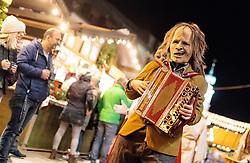 01.12.2016, Christkindlmarkt, Lienz, AUT, Osttiroler Krampustage im Bild Mitglieder der Krampusgruppe NIKRAMO beim traditionellen Osttiroler Tischziachn // Members of the Krampusgroup NIKRAMO during the traditional Osttiroler table drawing. Krampus a mythical creature that, according to legend, accompanies Saint Nicholas during the festive season. Instead of giving gifts to good children, he punishes the bad ones, Lienz, Austria on 2016/12/01. EXPA Pictures © 2016, PhotoCredit: EXPA/ JFK