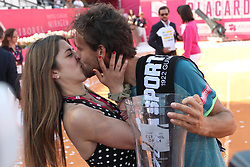 May 6, 2018 - Estoril, Portugal - Joao Sousa of Portugal kisses his girlfriend after winning the Millennium Estoril Open ATP 250 tennis tournament final against Frances Tiafoe of US, at the Clube de Tenis do Estoril in Estoril, Portugal on May 6, 2018. (Credit Image: © Pedro Fiuza via ZUMA Wire)