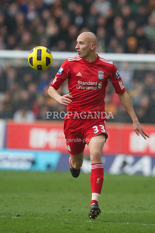 WOLVERHAMPTON, ENGLAND - Saturday, January 22, 2011: Liverpool's Jonjo Shelvey in action against Wolverhampton Wanderers during the Premiership match at Molineux. (Photo by David Rawcliffe/Propaganda)
