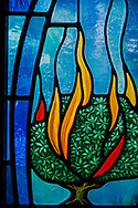 Stained glass depicting the burning bush (Exodus 3) on Wednesday, May 13, 2020, at St. Paul's Lutheran Church, Columbia, Ill. LCMS Communications/Erik M. Lunsford