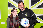 Matchball sponsor with MOM Forest Green Rovers Gavin Gunning(16) during the EFL Sky Bet League 2 match between Forest Green Rovers and Port Vale at the New Lawn, Forest Green, United Kingdom on 8 September 2018.