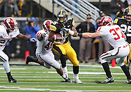 October 31, 2009: Iowa wide receiver Derrell Johnson-Koulianos (15) tries to pull away from Indiana safety Collin Taylor (37) during the first half of the Iowa Hawkeyes' 42-24 win over the Indiana Hoosiers at Kinnick Stadium in Iowa City, Iowa on October 31, 2009.