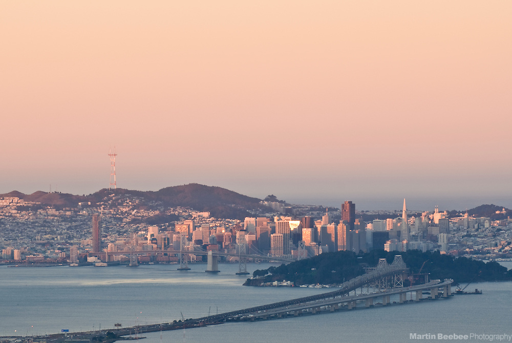 San Francisco and the Bay Bridge at sunrise, California