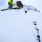 Tyler Hatcher waits for his turn to drop into a monster line in the Cascade backcountry of Washington.