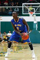 Nov 16, 2011; San Francisco CA, USA;  San Jose State Spartans forward Jaleel Williams (2) holds the ball against the San Francisco Dons during the second half at War Memorial Gym.  San Francisco defeated San Jose State 83-81 in overtime. Mandatory Credit: Jason O. Watson-US PRESSWIRE