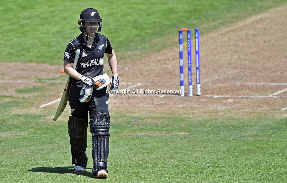 July 2nd 2017, The Brightside Ground, Bristol, England; ICC Womens World Cup; Australia Women versus New Zealand Women; Katie Perkins of New Zealand leaves the field