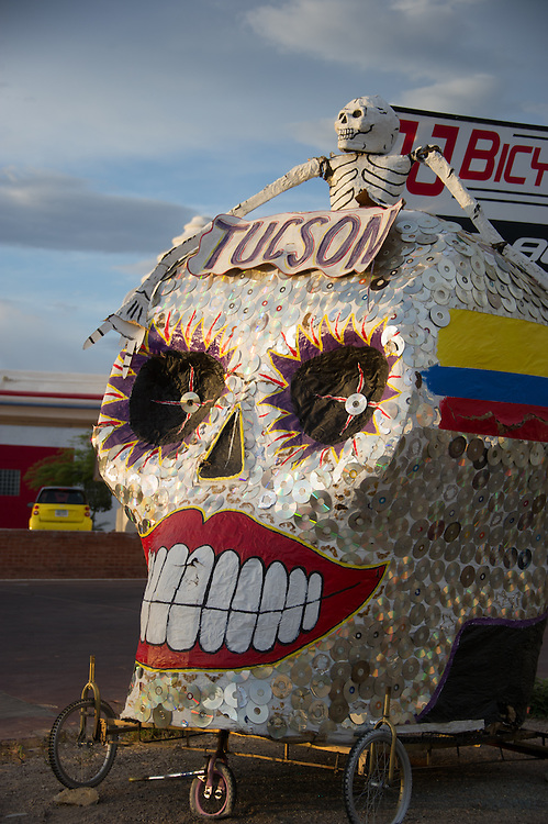 Skull made of CDs Tucson AZ