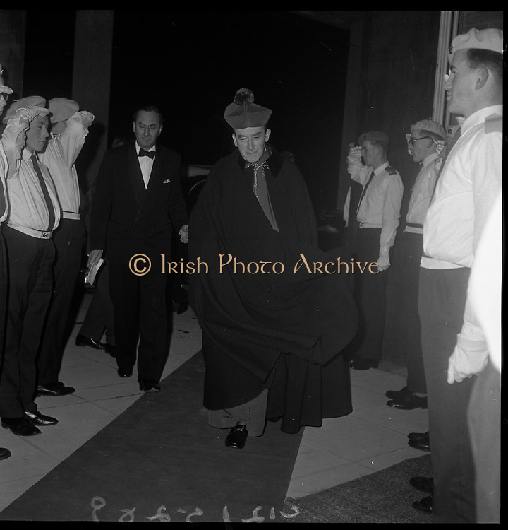 Inauguration of Teilifís Eireann, Montrose..1961..31.12.1961..12.31.1961..31st December 1961..Today saw the inaugeration and official opening of Telifís Éireann. Many dignitaries from the political,religious and entertainment life attended at the ceremony. ..Picture shows Archbishop McQuaid taking his leave after the inaugeration ceremony at Montrose, Dublin.