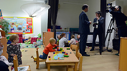 © Licensed to London News Pictures. 13/11/2012. London, UK Deputy Prime Minister Nick Clegg visits the 'Third Door', in Putney today Putney today, 13 November 2012. An innovative centre combining a workspace for parents and childcare for their children, parents can drop off their children in the nursery, and hire a working space including desk, meeting room and facilities.  He announced new flexible parental leave for parents, mothers and fathers can now share the maternity leave allowance.. Photo credit : Stephen Simpson/LNP