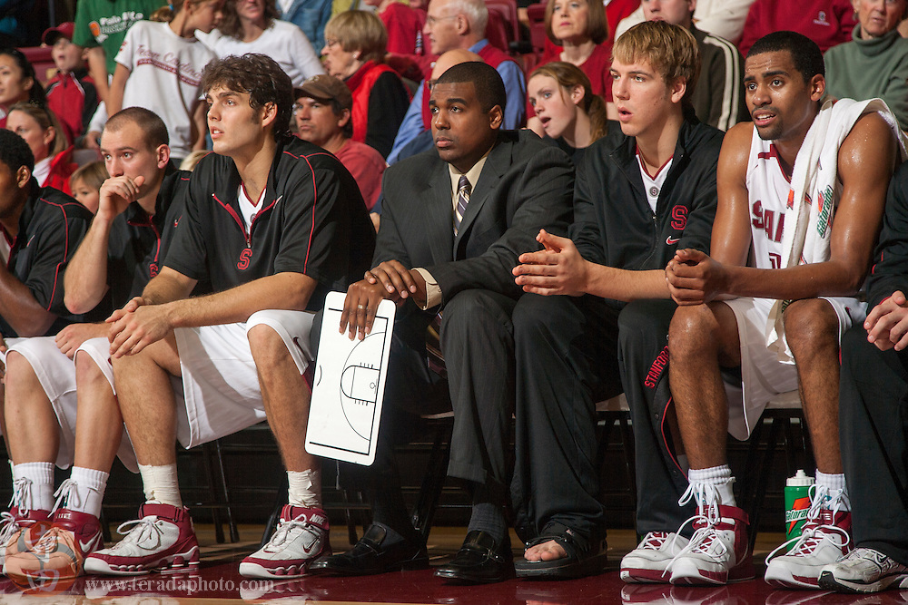 November 25, 2006; Stanford, CA, USA; Stanford Cardinal director of men's basketball operations Julius Hicks during the game against the Denver Pioneers at Maples Pavilion. The Cardinal defeated the Pioneers 82-39.