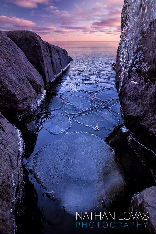 Sunrise over Lake Superior;  Stony Point, Duluth MN.