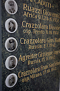 War memorial to those killed in WW2 in the Dolomites resort town of San Cassiano-St. Kassian in south Tyrol, Italy.