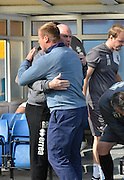 Robert Page and David Flitcroft greet each other during the Sky Bet League 1 match between Bury and Port Vale at Gigg Lane, Bury, England on 19 September 2015. Photo by Mark Pollitt.
