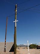 Crosses memorialize migrants from Mexico who have died crossing illegally into the United States at Centro Comunitario de Atencion al Migrante y Necesitado, a shelter in Altar, Sonora, Mexico.