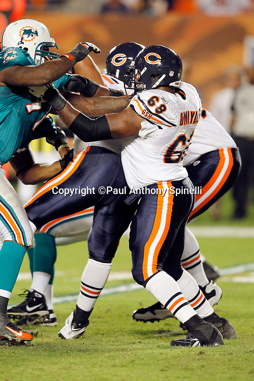 Chicago Bears guard Frank Omiyale (68) blocks during the NFL week 11 football game against the Miami Dolphins on Thursday, November 18, 2010 in Miami Gardens, Florida. The Bears won the game 16-0. (©Paul Anthony Spinelli)