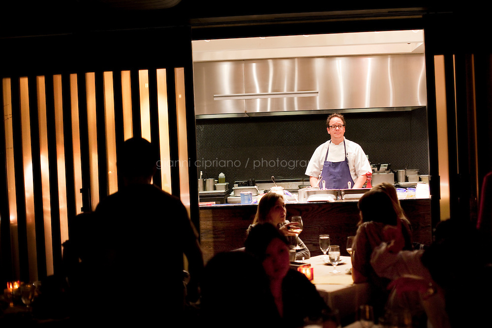 """29 January, 2009. New York, NY. Chef Damon Wise is """"on stage"""" for customers in the open kitchen of Craft's dining room, a New York restaurant. """"Damon's Thrifty Thursday"""" is a more democratic version of the special seatings several restaurant offer with their celebrity chefs.<br /> ©2009 Gianni Cipriano for The New York Times<br /> cell. +1 646 465 2168 (USA)<br /> cell. +1 328 567 7923 (Italy)<br /> gianni@giannicipriano.com<br /> www.giannicipriano.com"""
