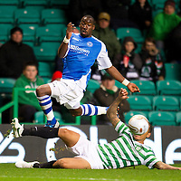 Celtic v St Johnstone...30.10.12      Scottish Communities Cup<br /> Gregory Tade is tackled by Kelvin Wilson<br /> Picture by Graeme Hart.<br /> Copyright Perthshire Picture Agency<br /> Tel: 01738 623350  Mobile: 07990 59443
