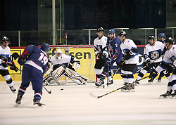 18.04.2016, Dom Sportova, Zagreb, CRO, IIHF WM, England vs Estland, Division I, Gruppe B, im Bild Aktion vor dem Goal von Estland // during the 2016 IIHF Ice Hockey World Championship, Division I, Group B, match between England and Estonia at the Dom Sportova in Zagreb, Croatia on 2016/04/18. EXPA Pictures © 2016, PhotoCredit: EXPA/ Pixsell/ Sanjin Strukic<br /> <br /> *****ATTENTION - for AUT, SLO, SUI, SWE, ITA, FRA only*****