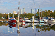 Boats at a marina with the Tampa, Florida skyline in the background