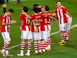 Team of Paraguay celebrate during the penalty shots after 0-0 in overtime during the 2010 FIFA World Cup South Africa Round of Sixteen football match between Paraguay and Japan on June 29, 2010 at Loftus Versfeld Stadium in Tshwane/Pretoria. (Photo by Vid Ponikvar / Sportida)