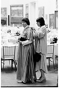 Iris Murdoch and Margaret Drabble. . Royal academy dinner. Piccadilly. London. 10 May 1982. SUPPLIED FOR ONE-TIME USE ONLY> DO NOT ARCHIVE. © Copyright Photograph by Dafydd Jones 248 Clapham Rd.  London SW90PZ Tel 020 7820 0771 www.dafjones.com