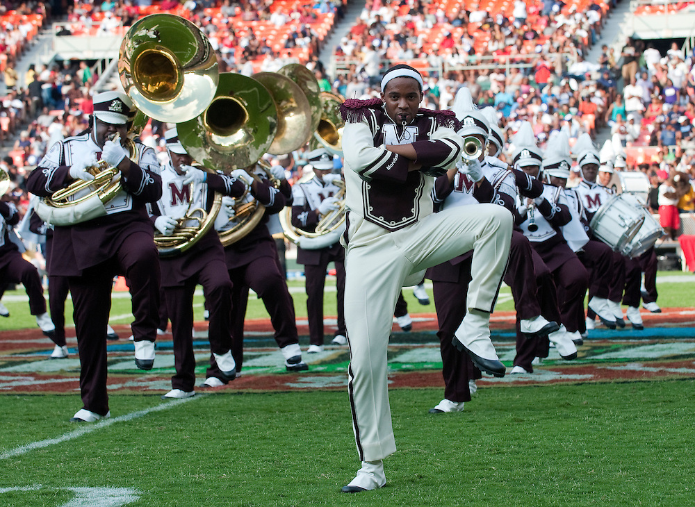The Morehouse College marching band performs during the Target half-time show at the AT&T Nation's Classic Football game with Howard University and Morehouse College. Howard won the game  30-27 at RFK Stadium in Washington, DC  (Alan Lessig)Alan Lessig Photography.http://lessigphotography.photoshelter.com/