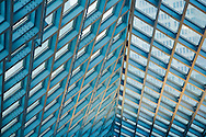 entrance detail to seattle public library, patterns of structural steel, light blue in color
