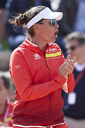 April 21, 2018 - La Manga, Murcia, Spain - Anabel Medina Captain of Spain reacts during day one of the Fedcup World Group II Play-offs match between Spain and Paraguay at Centro de Tenis La Manga Club on April 21, 2018 in La Manga, Spain  (Credit Image: © David Aliaga/NurPhoto via ZUMA Press)
