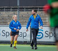 AMSTELVEEN  - scheidsrechters Thomas Duijnstee en Cocky Stam  voor de hoofdklasse competitiewedstrijd hockey dames , Amsterdam-Laren (3-0)  , COPYRIGHT KOEN SUYK