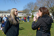 North Merrick, New York, USA. March 31, 2018. L-R, SUE MOLLER, the Co-President of North and Central Merrick Civic Association; and ALISON FRANKEL, the President of South Bellmore Civic Association, chat  at the 16th Annual Eggstravaganza, held at Fraser Park. Event was co-hosted by NCMCA and American Legion Auxiliary Unit 1282.
