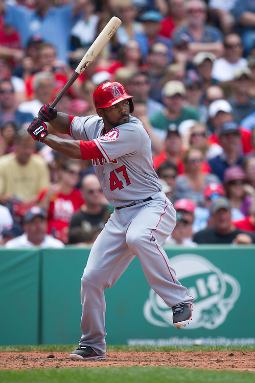 BOSTON, MA - JUNE 09: Howie Kendrick #47 of the Los Angeles Angels bats during the game against the Boston Red Sox at Fenway Park in Boston, Massachusetts on June 9, 2013. (Photo by Rob Tringali) *** Local Caption *** Howie Kendrick