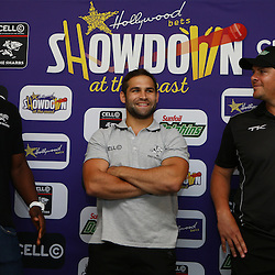 Durban South Africa -  December 3,  Lubabalo Tera Mtembu with Cobus Reinach and Robbie Frylinck Hollywoodbets during the joint announcement by Hollywoodbets, Cell C, the Sunfoil Dolphins and the Cell C Sharks at the President Suite at Sahara Stadium Kingsmead.Sahara Stadium Kingsmead (Photo by Steve Haag)images for social media must have consent from Steve Haag