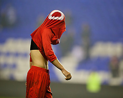 READING, ENGLAND - Wednesday, March 12, 2014: Liverpool's Cameron Brannagan looks dejected after losing 5-4 on penalties after a 4-4 draw against Reading during the FA Youth Cup Quarter-Final match at the Madejski Stadium. (Pic by David Rawcliffe/Propaganda)